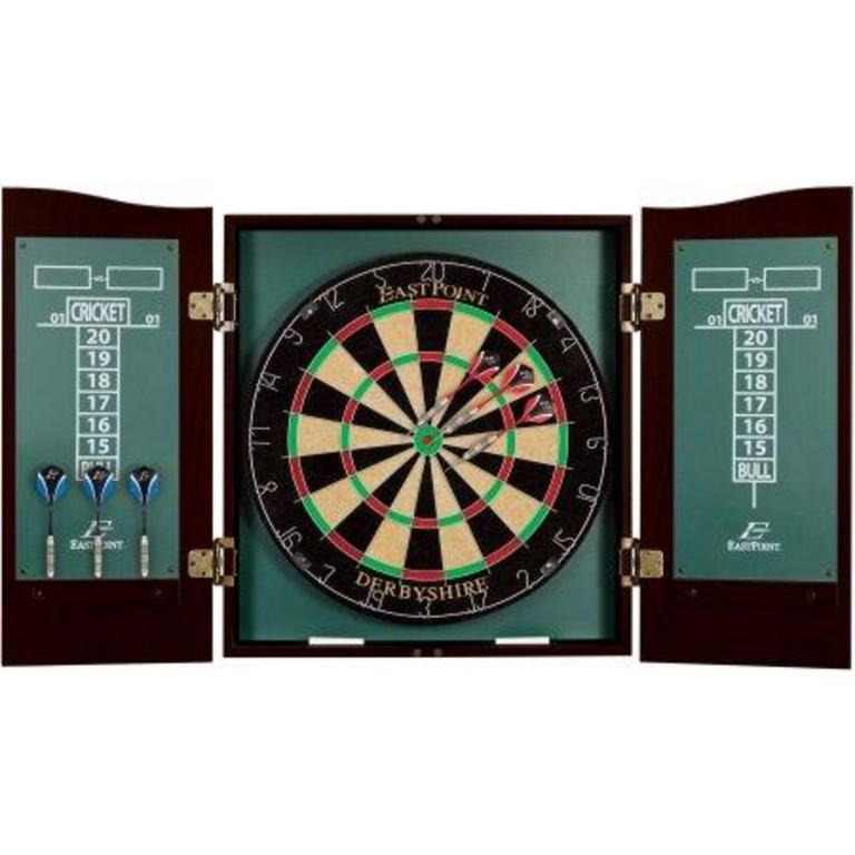 Auction Ohio Dartboard And Cabinet
