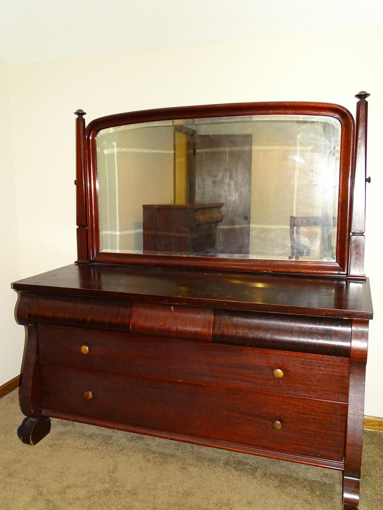 Auction Ohio Antique Dresser With Mirror