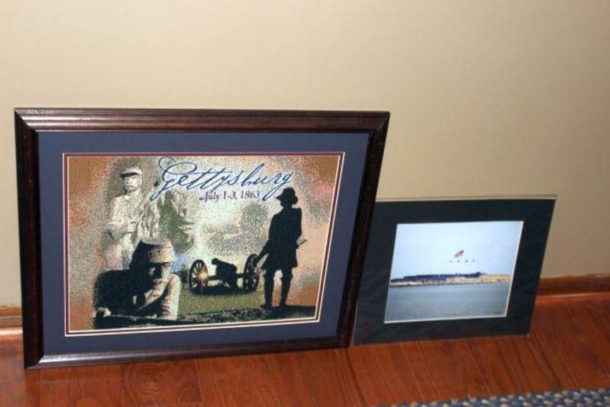 Auction Ohio | Framed Civil War Needlepoint