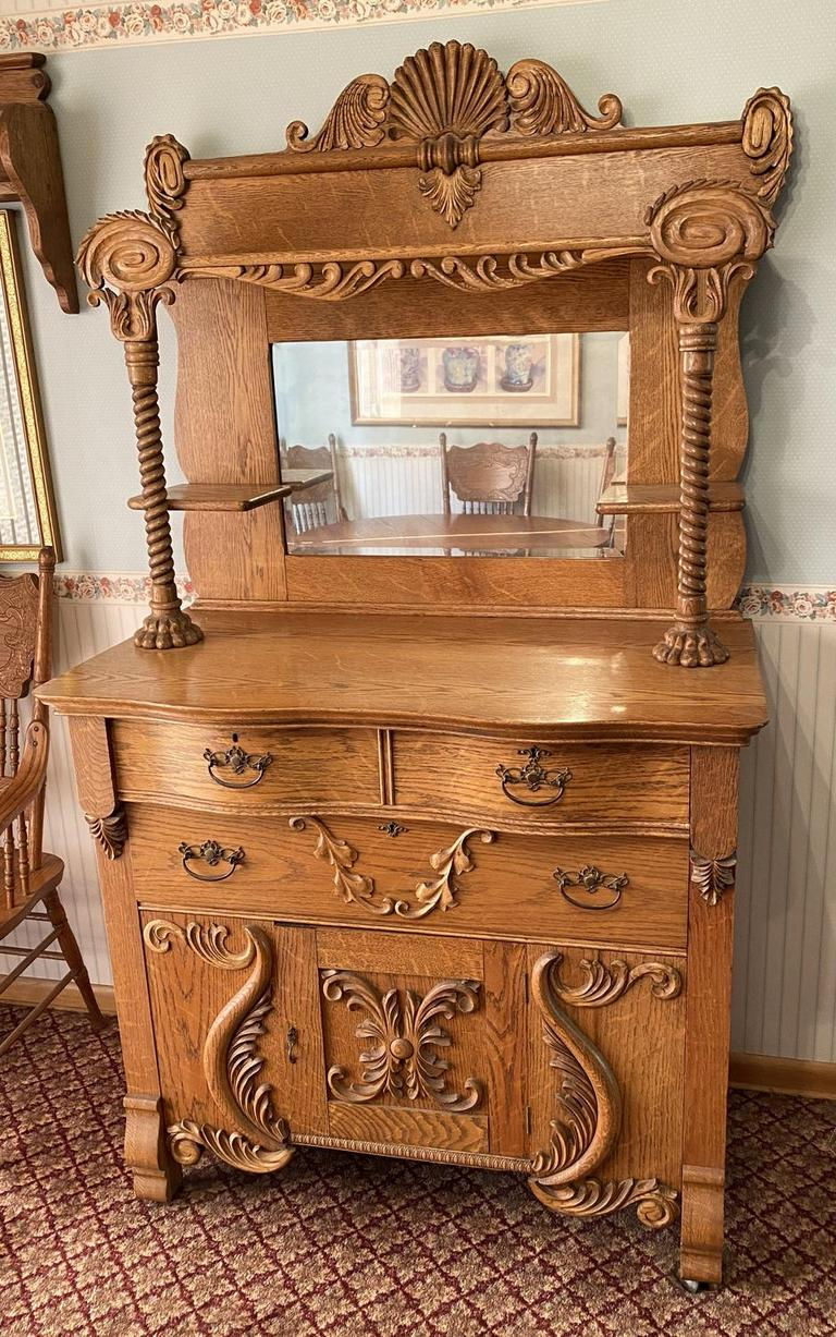 Picture of: Auction Ohio Antique Oak Sideboard